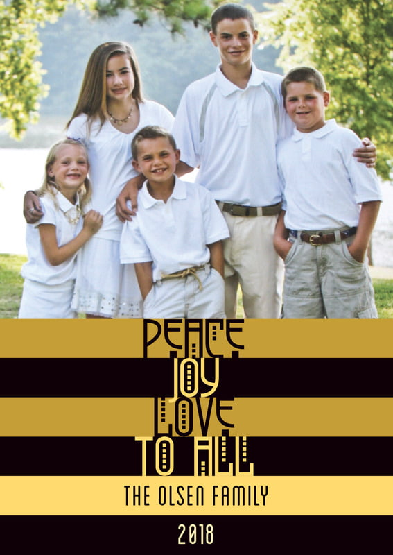 holiday cards - black & gold - festive stripes (set of 10)