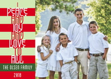 holiday cards - red - festive stripes (set of 10)