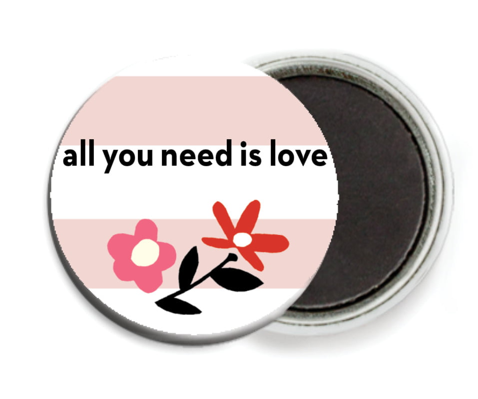 custom button magnets - blush - floral heart (set of 6)