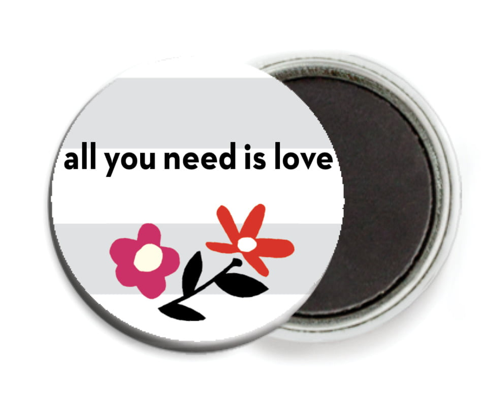custom button magnets - stone - floral heart (set of 6)