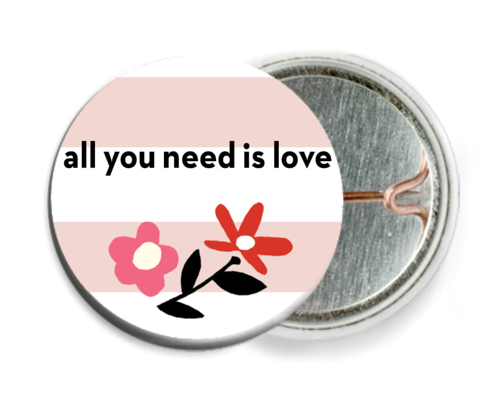 custom pin back buttons - blush - floral heart (set of 6)
