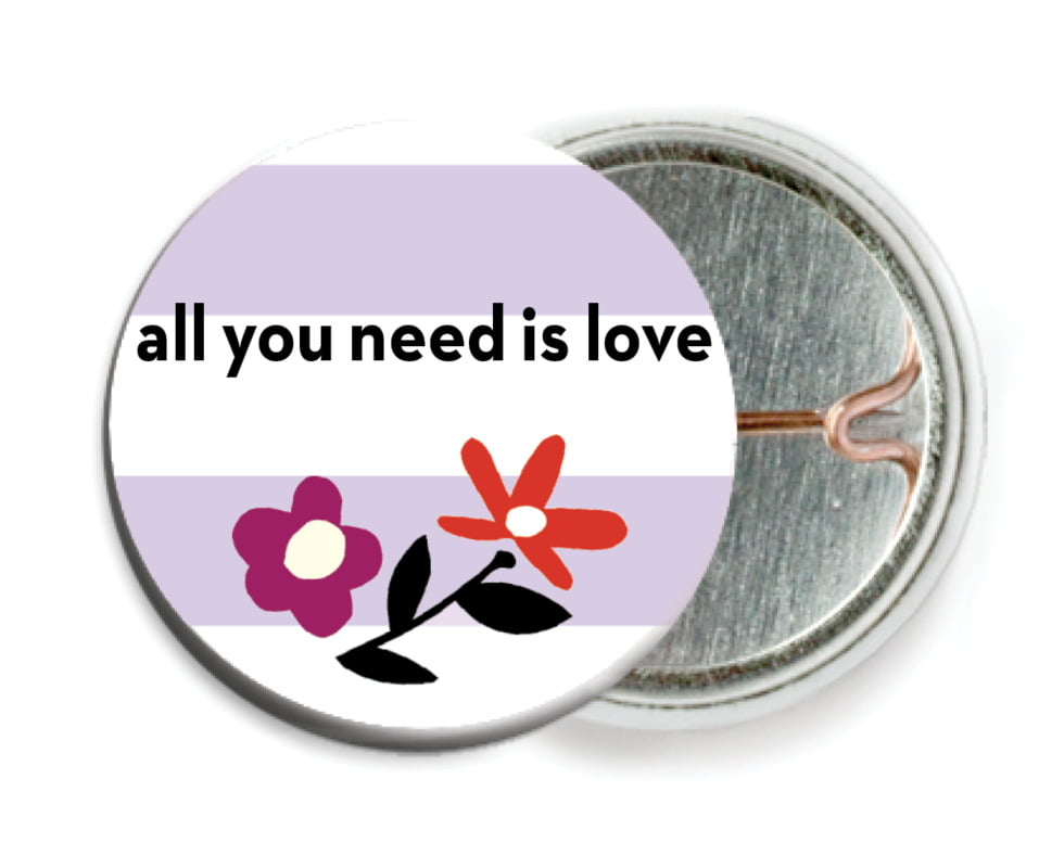 custom pin back buttons - lilac - floral heart (set of 6)