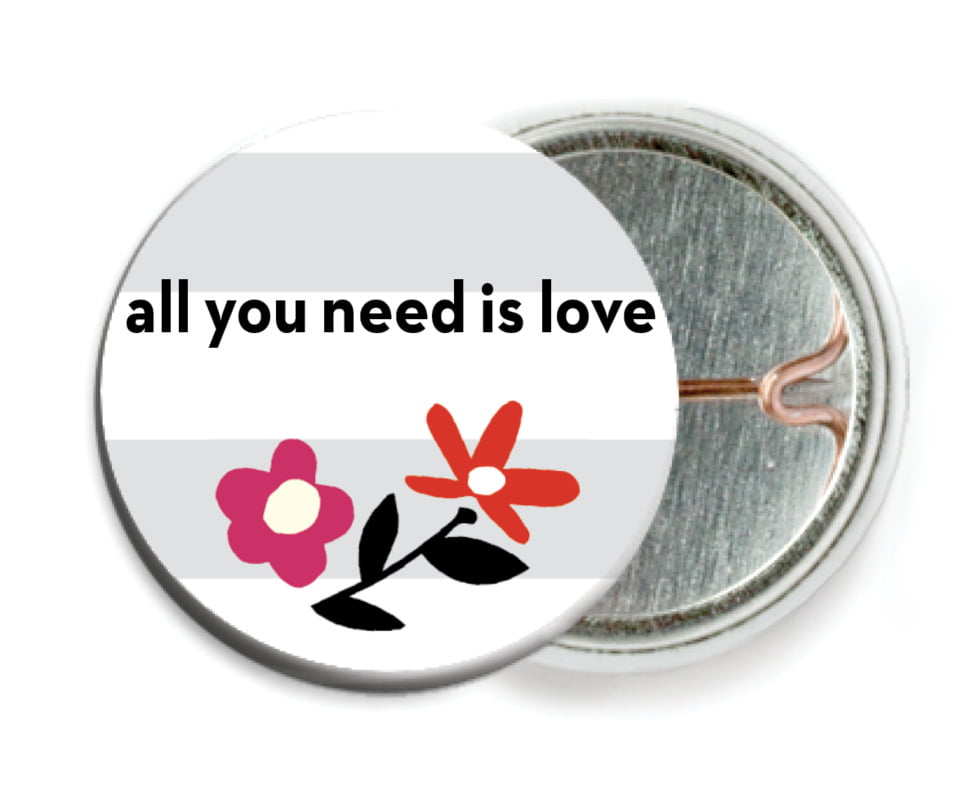 custom pin back buttons - stone - floral heart (set of 6)