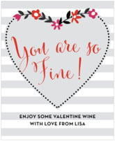 Floral Heart holiday wine labels