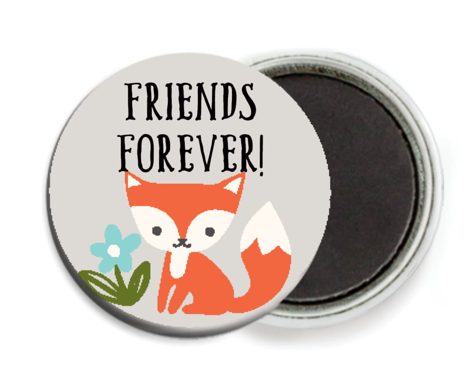 custom button magnets - stone - forest fox (set of 6)