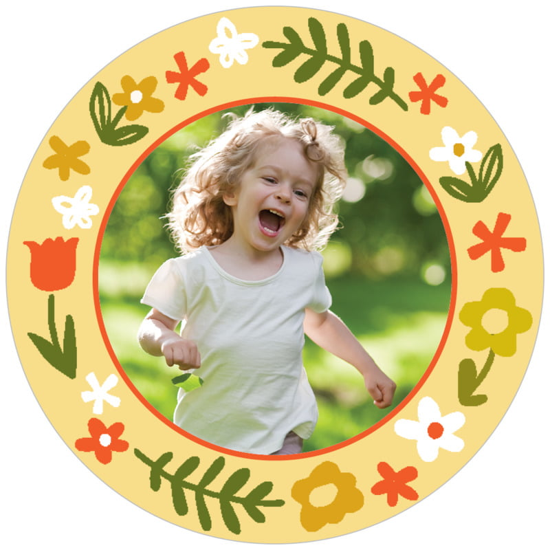 circle photo labels - sunburst - forest fox (set of 20)
