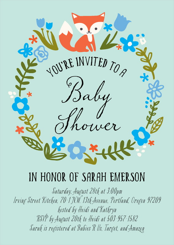 baby shower invitations - sea glass - forest fox (set of 10)