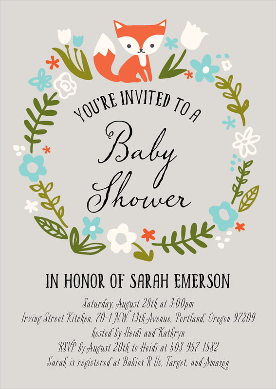 baby shower invitations - stone - forest fox (set of 10)