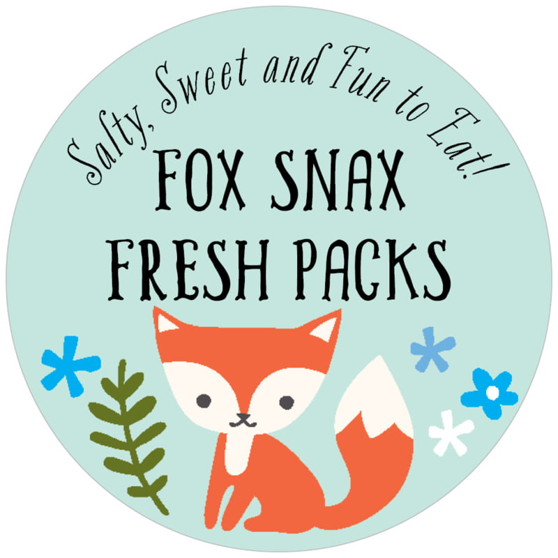 circle food/craft labels - sea glass - forest fox (set of 20)
