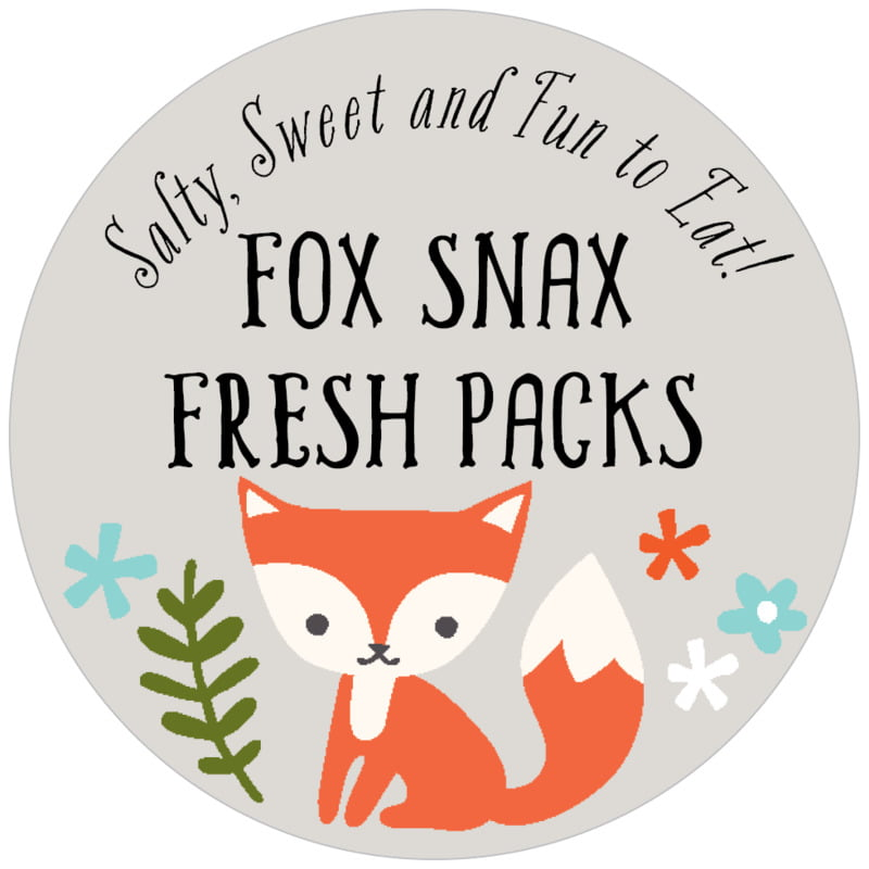 circle food/craft labels - stone - forest fox (set of 20)