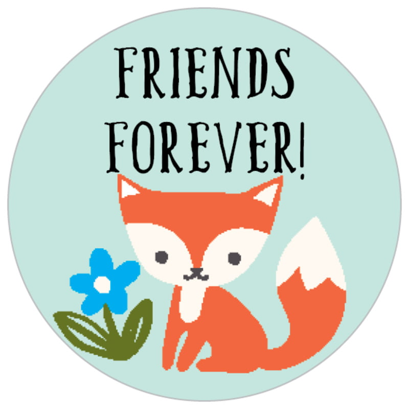 small circle food/craft labels - sea glass - forest fox (set of 70)