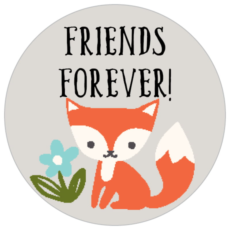 small circle food/craft labels - stone - forest fox (set of 70)
