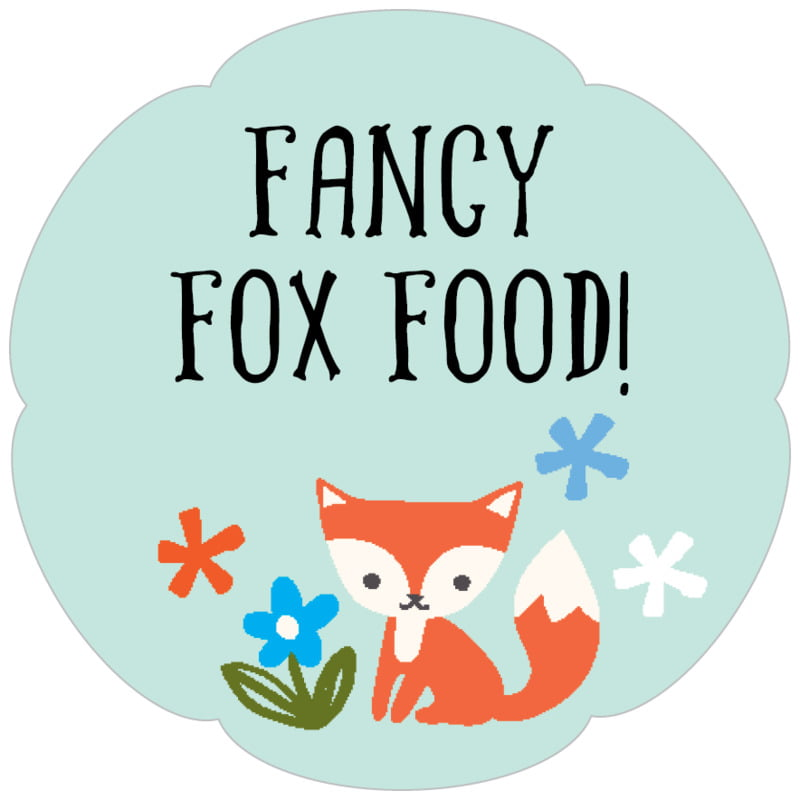 petal food/craft labels - sea glass - forest fox (set of 30)