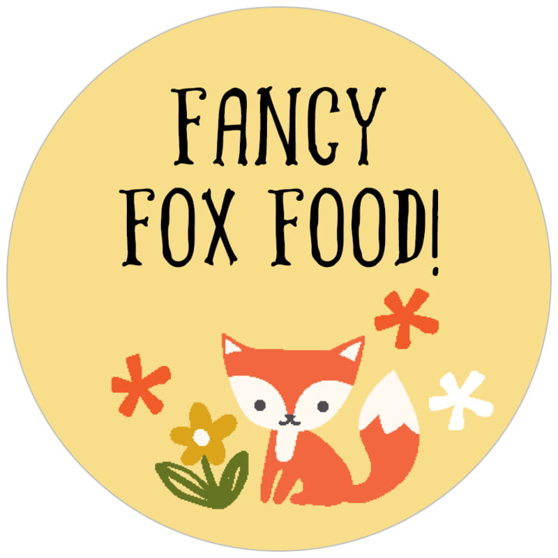 circle food/craft labels - sunburst - forest fox (set of 35)