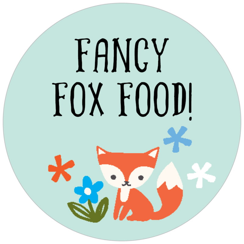 circle food/craft labels - sea glass - forest fox (set of 35)