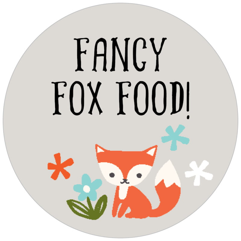 circle food/craft labels - stone - forest fox (set of 35)