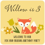 Forest Fox baby birthday coasters