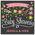 Floral Baby square labels