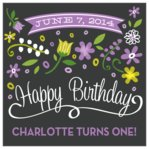 Floral Baby Square Label In Purple