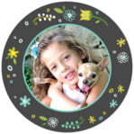 Floral Baby circle photo labels