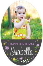 Floral Baby Large Oval Hang Tag In Purple