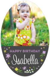 Floral Baby Tall Oval Label In Purple