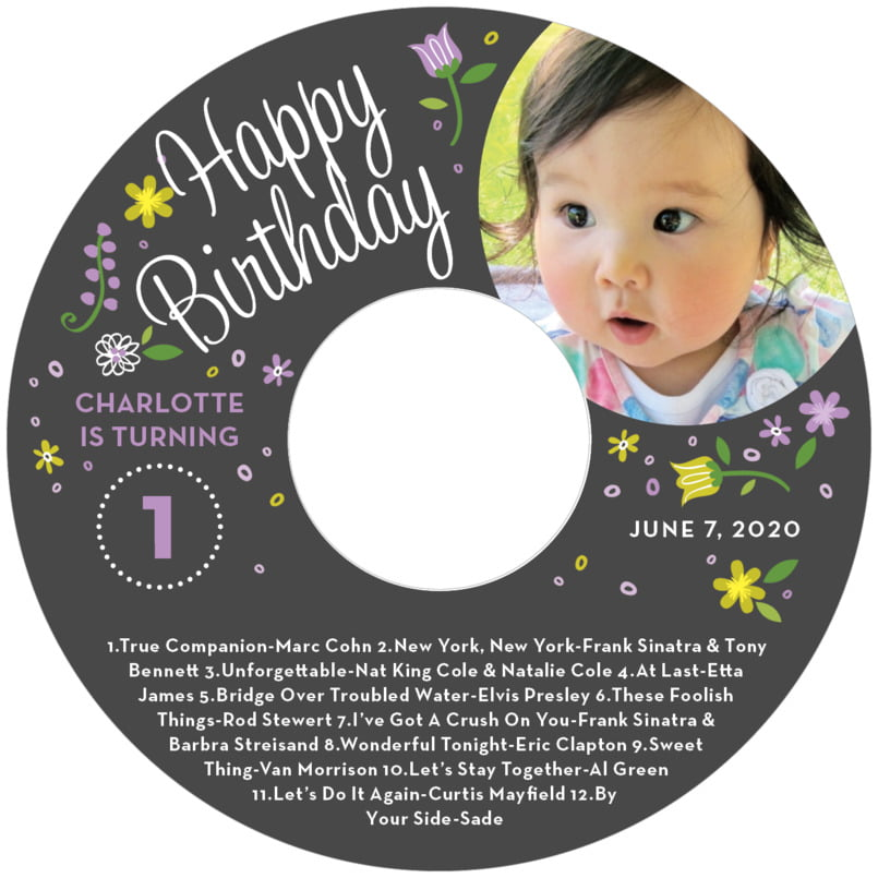 baby cd/dvd labels - purple - floral baby (set of 12)