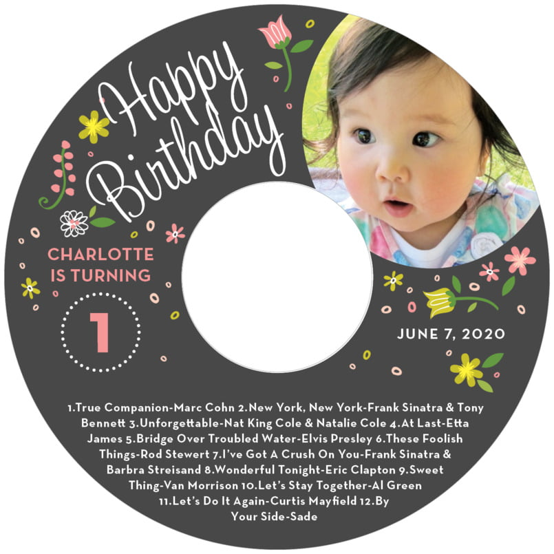 baby cd/dvd labels - pink - floral baby (set of 12)