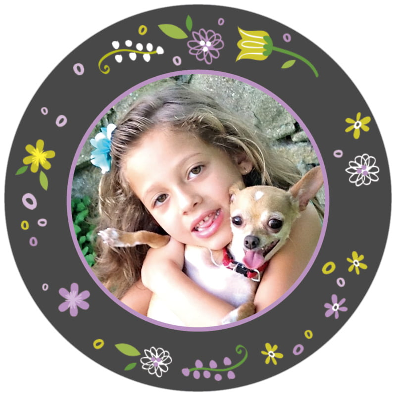 circle photo labels - purple - floral baby (set of 20)
