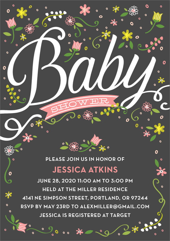 baby shower invitations - pink - floral baby (set of 10)