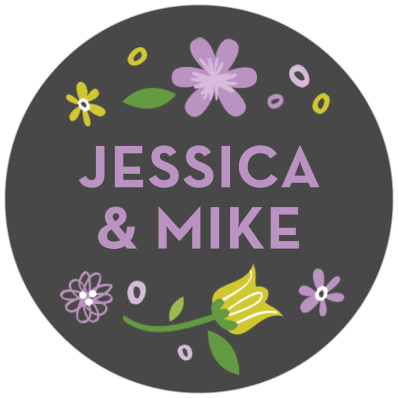 circle food/craft labels - purple - floral baby (set of 35)