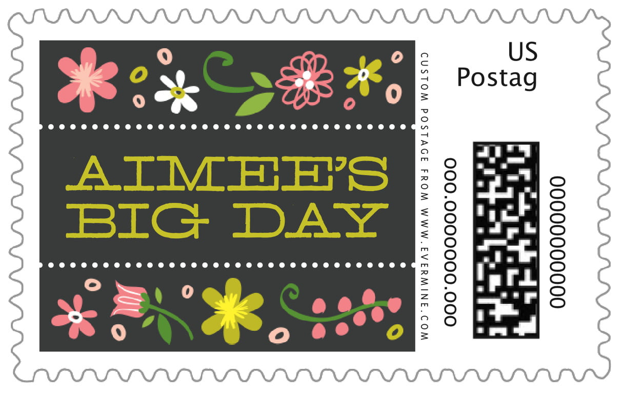 custom large postage stamps - pink - floral baby (set of 20)