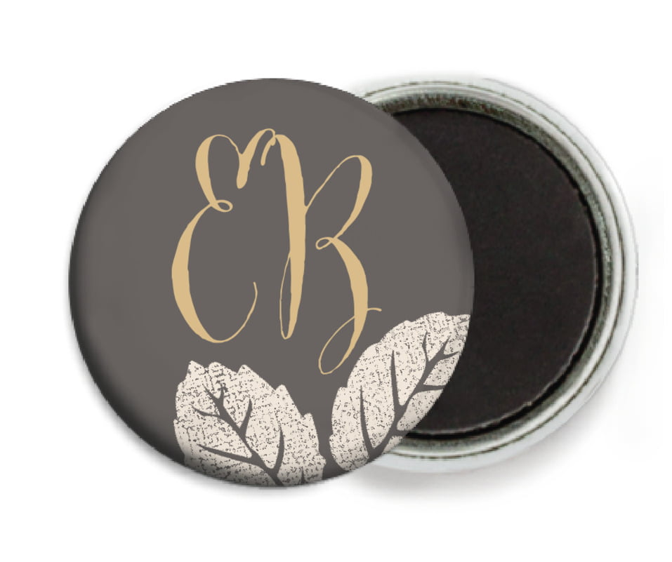 custom button magnets - charcoal - floral bliss (set of 6)