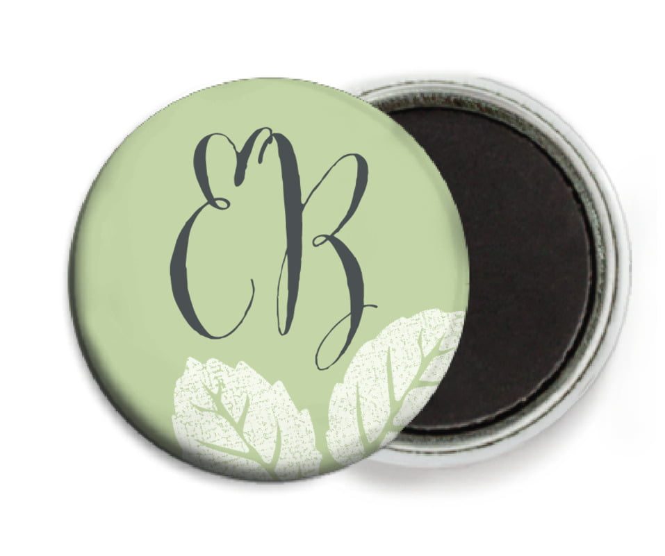 custom button magnets - green tea - floral bliss (set of 6)