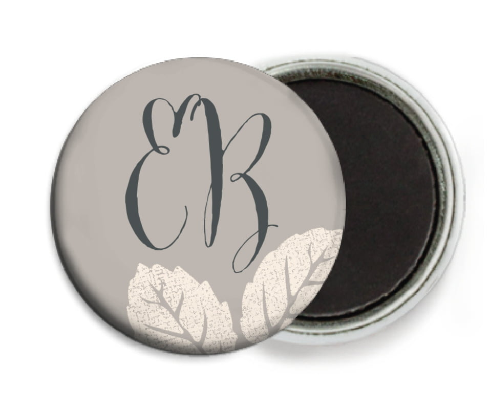 custom button magnets - warm grey - floral bliss (set of 6)
