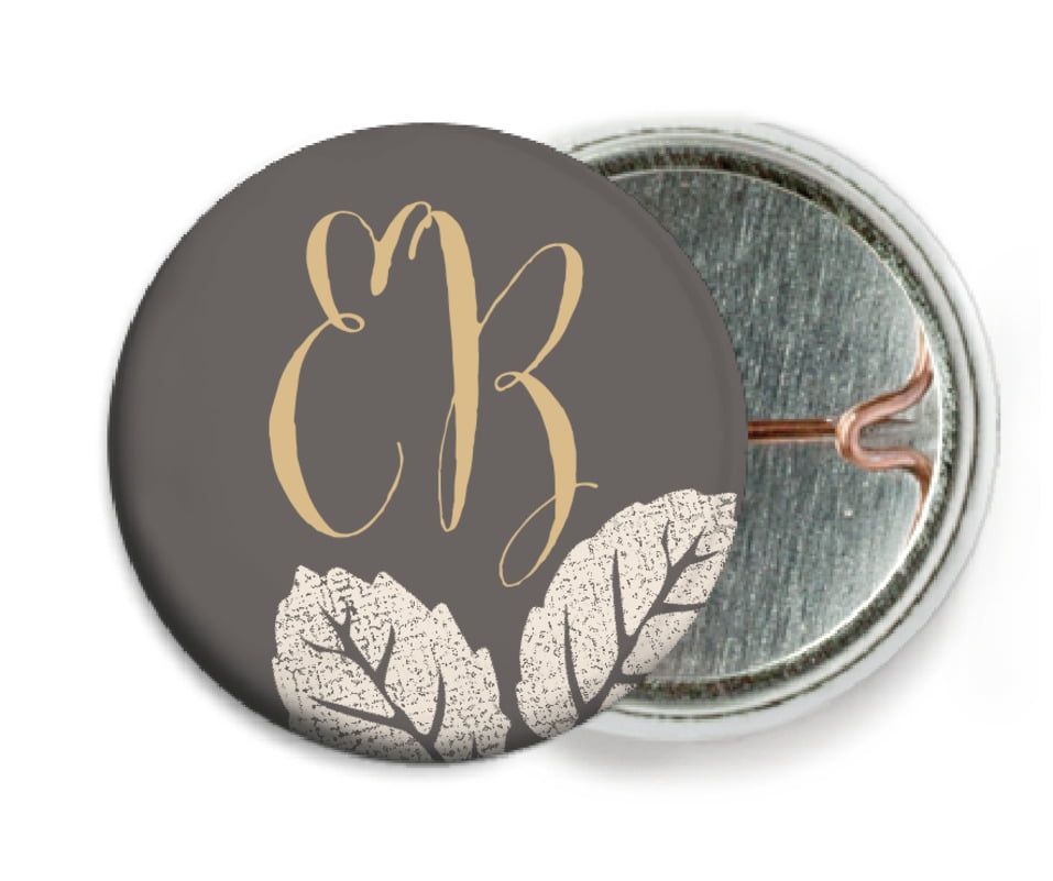 custom pin back buttons - charcoal - floral bliss (set of 6)