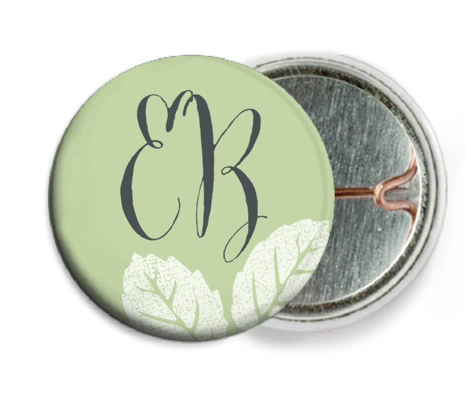 custom pin back buttons - green tea - floral bliss (set of 6)