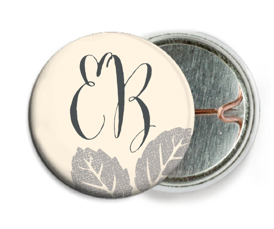 custom pin back buttons - cappuccino - floral bliss (set of 6)