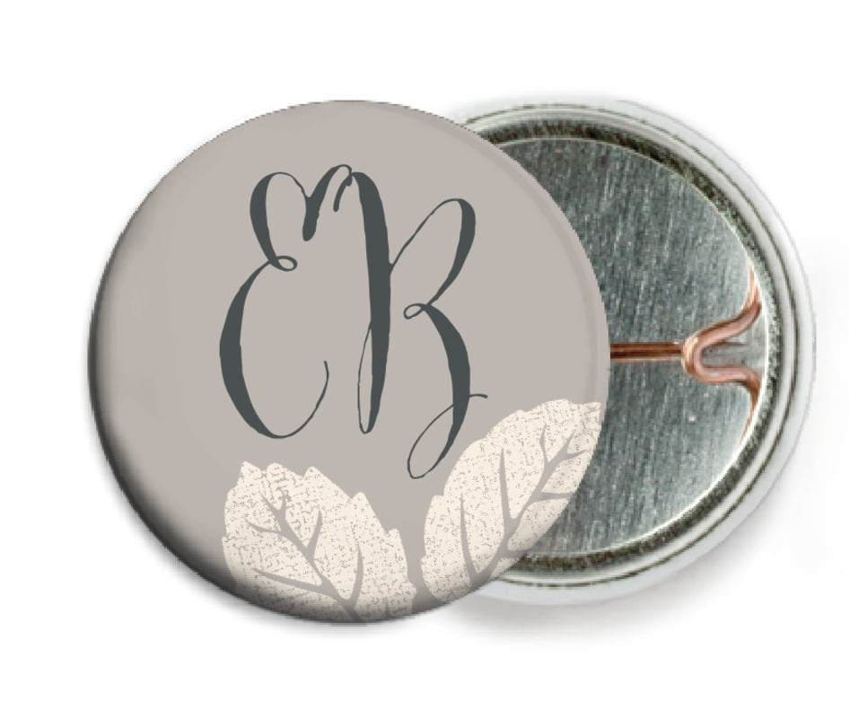 custom pin back buttons - warm grey - floral bliss (set of 6)