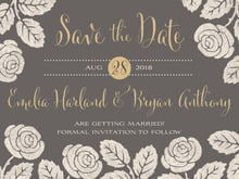 custom save-the-date cards - charcoal - floral bliss (set of 10)