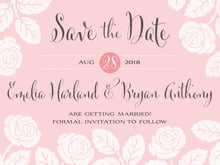 custom save-the-date cards - grapefruit - floral bliss (set of 10)
