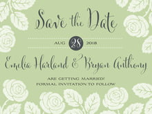 custom save-the-date cards - green tea - floral bliss (set of 10)