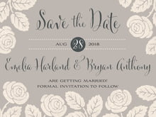 custom save-the-date cards - warm grey - floral bliss (set of 10)