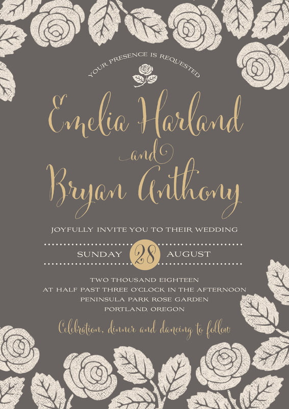 custom invitations - charcoal - floral bliss (set of 10)