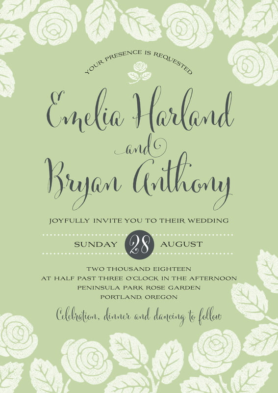 custom invitations - green tea - floral bliss (set of 10)