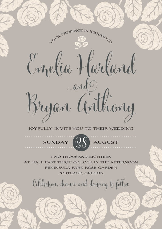 custom invitations - warm grey - floral bliss (set of 10)