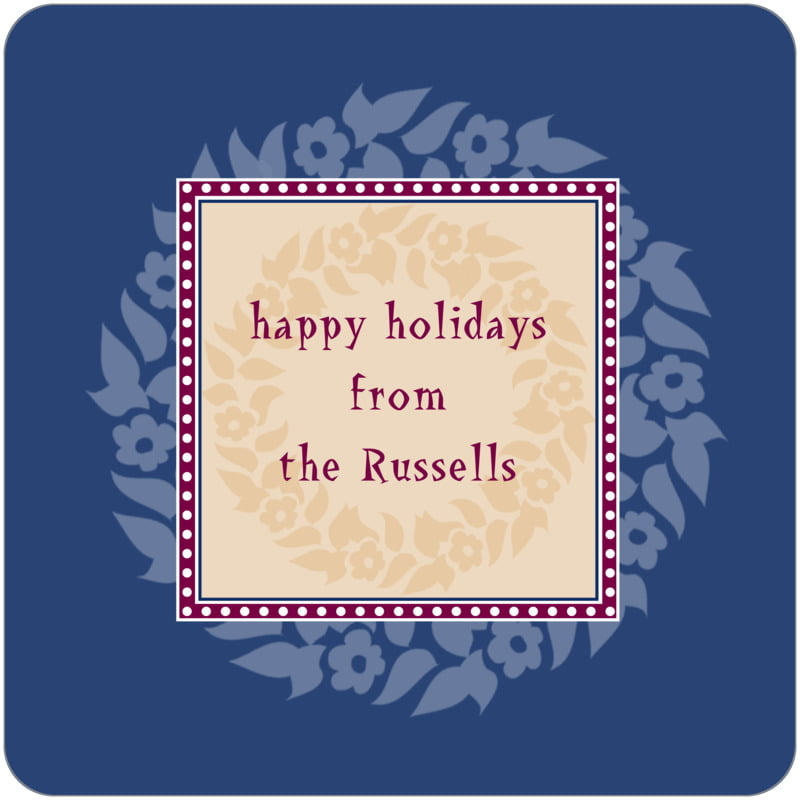 square holiday coasters - deep blue - garland (set of 12)