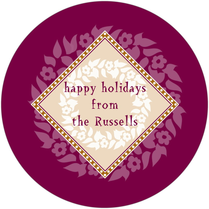 round holiday coasters - burgundy & gold - garland (set of 12)