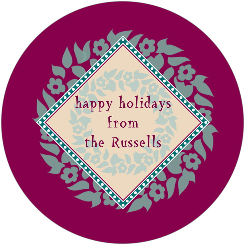 round holiday coasters - burgundy & green - garland (set of 12)