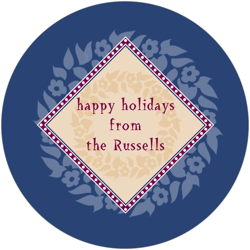 round holiday coasters - deep blue - garland (set of 12)